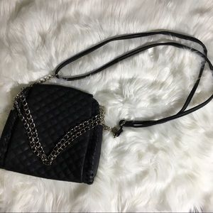 Black Quilted Crossbody with Chain Detail Accent